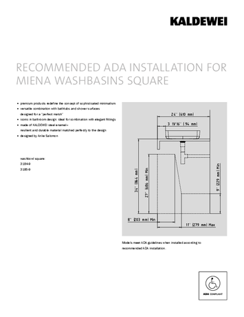 ADA INSTALLATION FOR MIENA WASHBASINS SQUARE