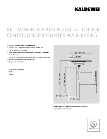 ADA INSTALLATION FOR CENTRO UNDERCOUNTER WASHBASINS
