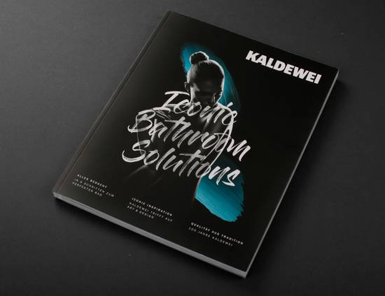 "Cover of the Kaldewei magazine ""Iconic Bathroom Solutions"""