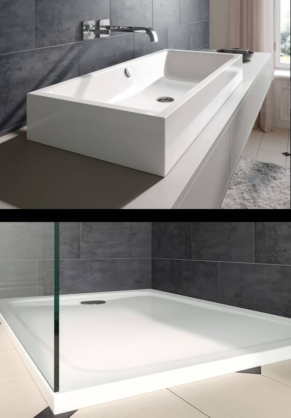 Two photos: A white, square washbasin and a dark-grey slate wall / white flat shower area with glass scren and a dark-grey slate wall