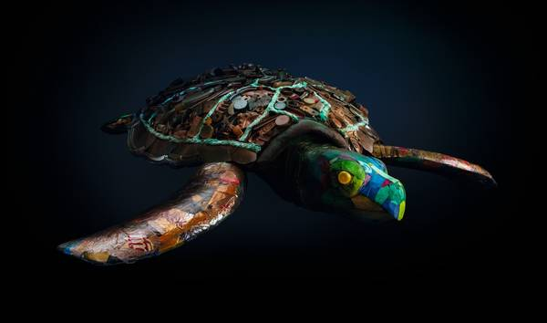 Sea turtle made of plastic waste