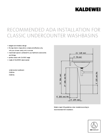 ADA INSTALLATION FOR CLASSIC UNDERCOUNTER WASHBASINS