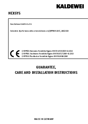 Guarantee, care and installation instructions NEXSYS