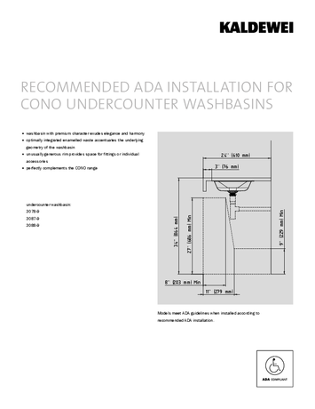 ADA INSTALLATION FOR CONO UNDERCOUNTER WASHBASINS