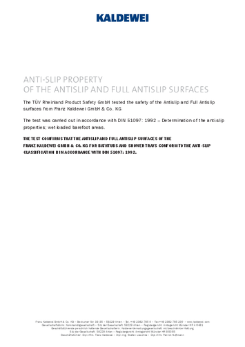 Slip resistant properties of antislip