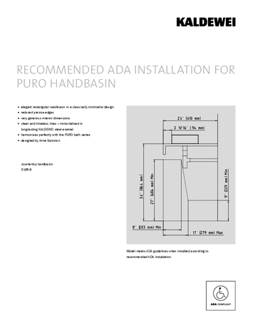 ADA INSTALLATION FOR PURO HANDBASIN