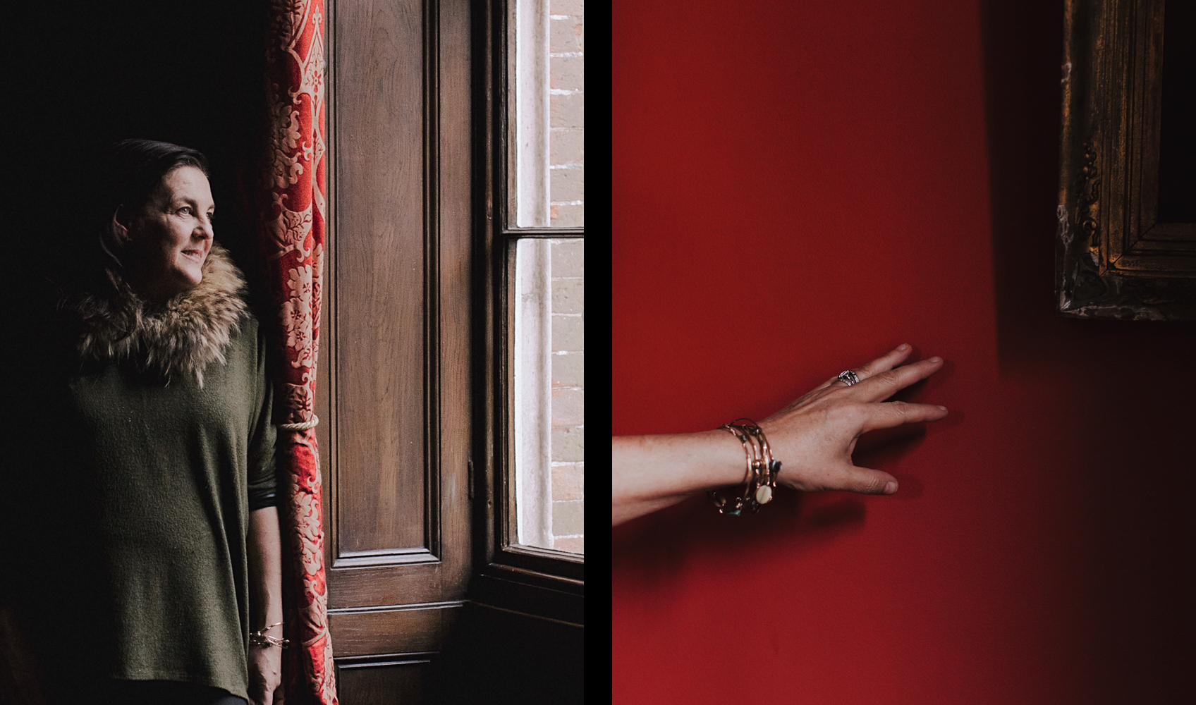 Joa Studholme, colour consultant for Farrow & Ball / Hand in front of a red wall