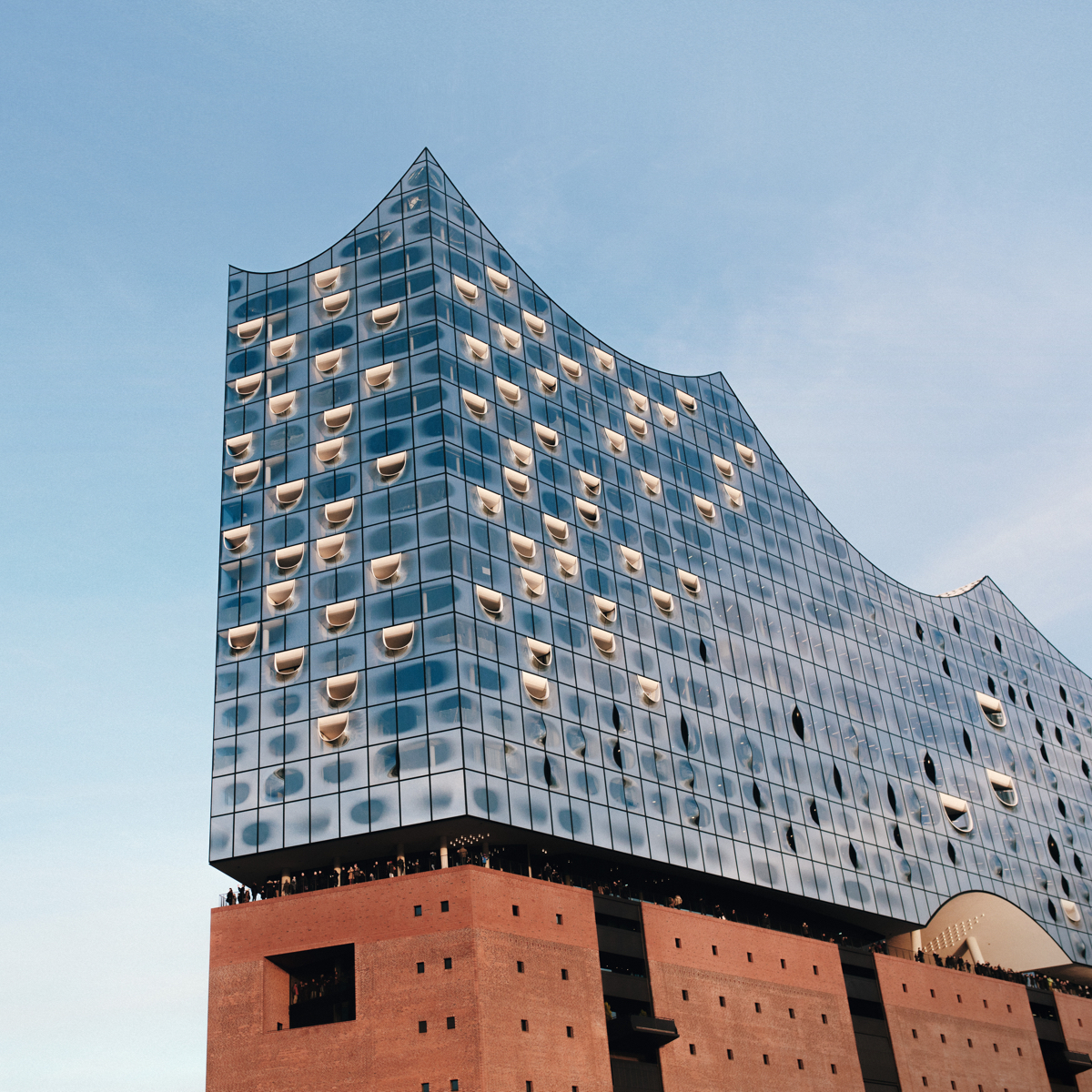 An exterior view of the Elbphilharmonie.